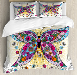 Spring Flowers Butterfly Duvet Cover Set
