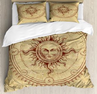 Antique Roman Sun Stone Duvet Cover Set