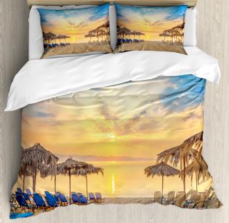 Sandy Beach with Sunrise Duvet Cover Set