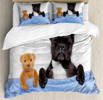 French Bulldog with Bear Duvet Cover Set