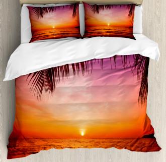 Coconut Palm Tree Leaf Duvet Cover Set