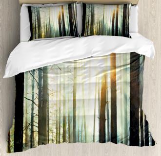 Fairy Foggy Forest Woods Duvet Cover Set