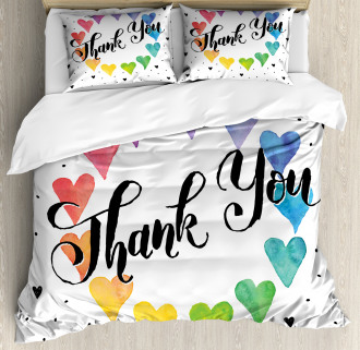 Thank You Quote Color Duvet Cover Set