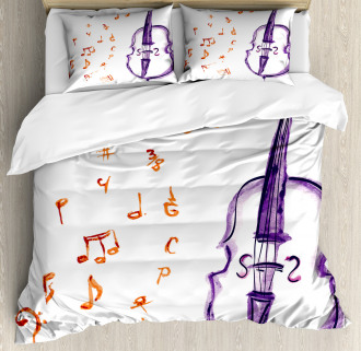 Musical Note Black Theme Duvet Cover Set
