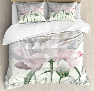 Pink Rose Tulip Abstract Duvet Cover Set