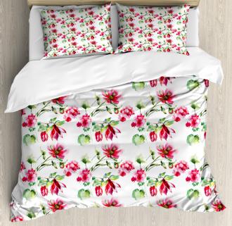 Shabby Chic Roses Tulips Duvet Cover Set