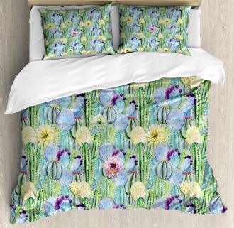 Cactus Buds Types Pattern Duvet Cover Set