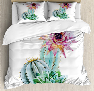 Cactus Flower and Spike Duvet Cover Set