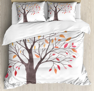 Forest Trees with Leaves Duvet Cover Set