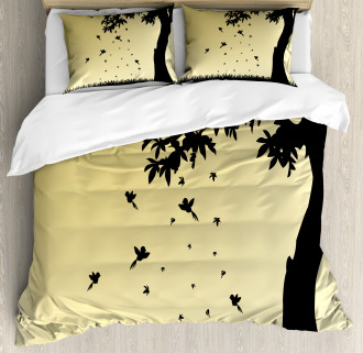 Tree with Falling Leaves Duvet Cover Set