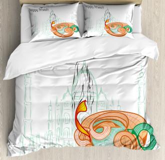 Sketchy Diwali Festive Duvet Cover Set