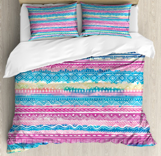 Watercolor Aztec Stripes Duvet Cover Set