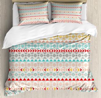Boho Stripes and Shapes Duvet Cover Set