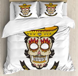 Skull with Sombrero Duvet Cover Set