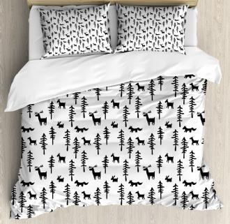 Pine Trees Rabbit Animal Duvet Cover Set