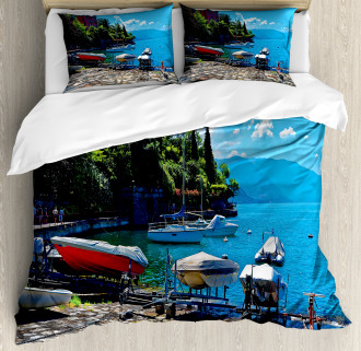 Boats European Sea Town Duvet Cover Set