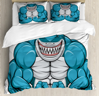 Toothy White Shark Smiling Duvet Cover Set