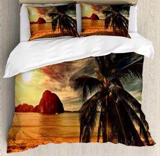 Coconut Palm Tree Beach Duvet Cover Set