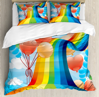 Rainbow Romantic Hearts Duvet Cover Set