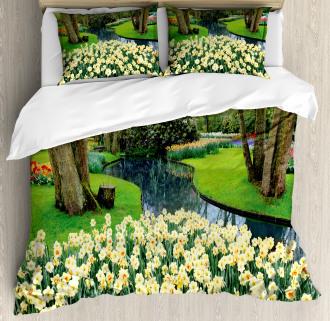 Flower Garden Grass Park Duvet Cover Set