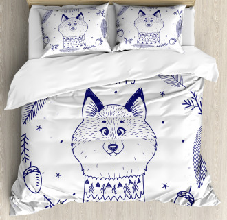 Fox with Hearts and Beam Duvet Cover Set