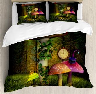 Giant Mushroom and Elve Duvet Cover Set