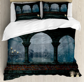 Medieval Castle at Night Duvet Cover Set