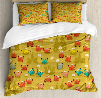 Crab Shell Sand Castle Duvet Cover Set