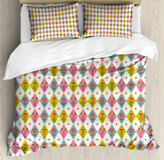 Geometric Tulips Pattern Duvet Cover Set