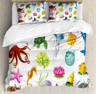 Sea Animals Octopus Fish Duvet Cover Set