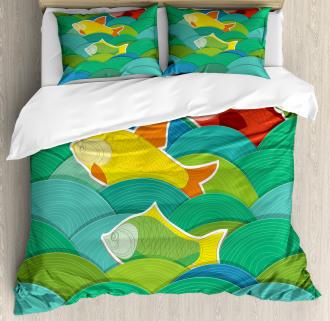 Sea Marine Waves Funky Duvet Cover Set
