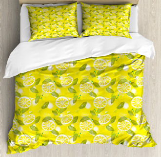 Fresh Lemons with Leaves Duvet Cover Set