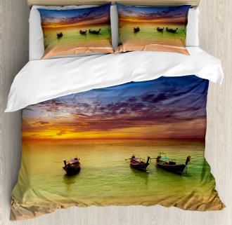 Thailand Boat in Ocean Duvet Cover Set