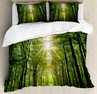 Summer Trees Upward View Duvet Cover Set