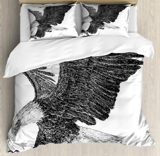 Bald Eagle Swoop Sketchy Duvet Cover Set