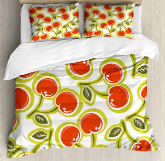 Cherry and Leaves Pattern Duvet Cover Set