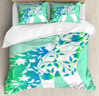Girl Flower Petal Leaves Duvet Cover Set