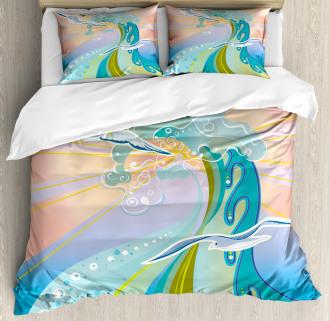 Cartoon like Waves Duvet Cover Set