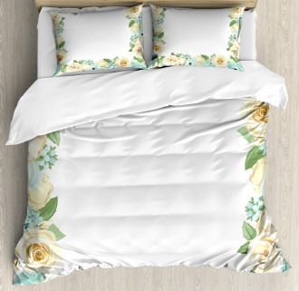 Flower Roses Leaves Duvet Cover Set