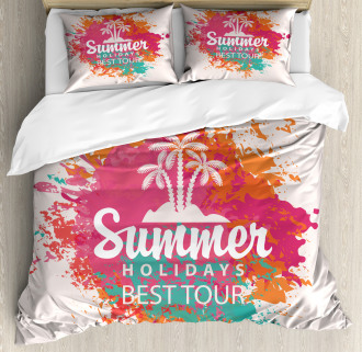 Lettering and Palms Duvet Cover Set