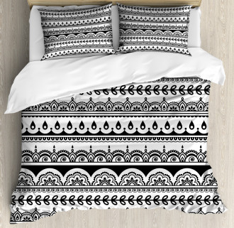 Ethnic Borders with Leaf Duvet Cover Set