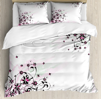 Grunge Flower Motif Leaf Duvet Cover Set