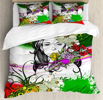 Tropical Flowers Spirals Duvet Cover Set