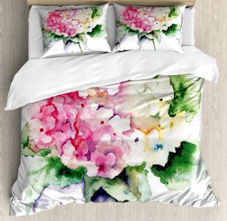 Hydrangea Flower Bouquet Duvet Cover Set