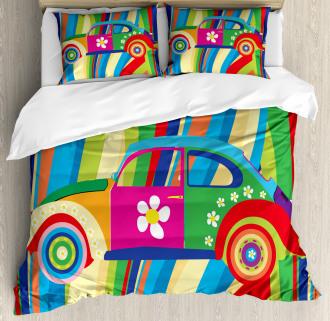 Hippie Style Classic Car Duvet Cover Set
