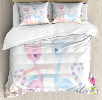 Cat Love Tulip Hearts Duvet Cover Set