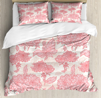 Pink Flowers and Leaves Duvet Cover Set