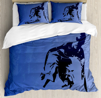 Abstract Vector Skaters Duvet Cover Set