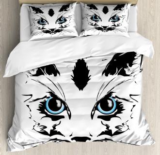 Big Cat Face Pet Sketchy Duvet Cover Set