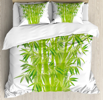 Bamboo Stems with Leaves Duvet Cover Set